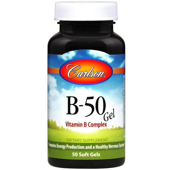 B-50 Gel, Vitamin B Complex, 50 softgels, Carlson Labs