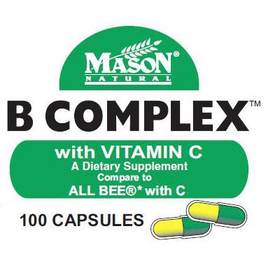Vitamin B Complex with Vitamin C, 100 Capsules, Mason Natural