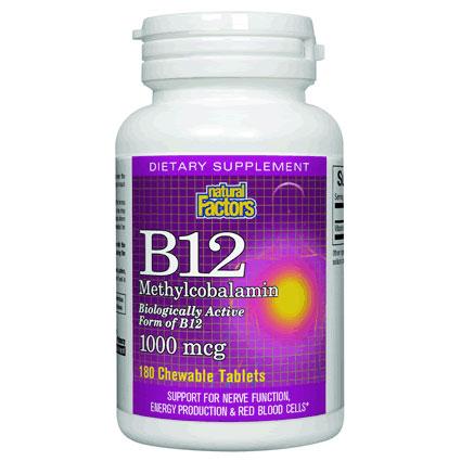 Vitamin B12 Methylcobalamin 1000 mcg, 180 Chewable Tablets, Natural Factors