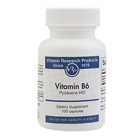 B6 (Pyridoxine HCl), 100 mg, 100 Capsules, Vitamin Research Products - CLICK HERE TO LEARN MORE
