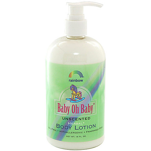 Baby Oh Baby Herbal Baby Body Lotion, Unscented, 16 oz, Rainbow Research