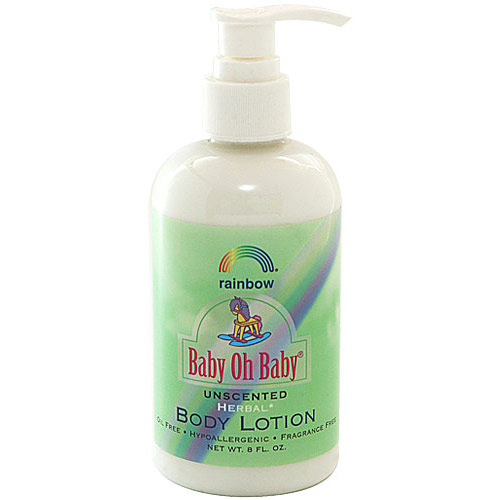 Baby Oh Baby Organic Herbal Baby Body Lotion, Unscented, 8 oz, Rainbow Research