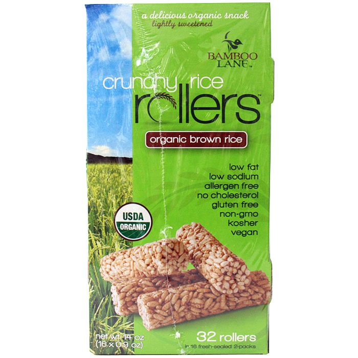 Bamboo Lane Crunchy Rice Rollers, Organic Brown Rice, 32 Rollers