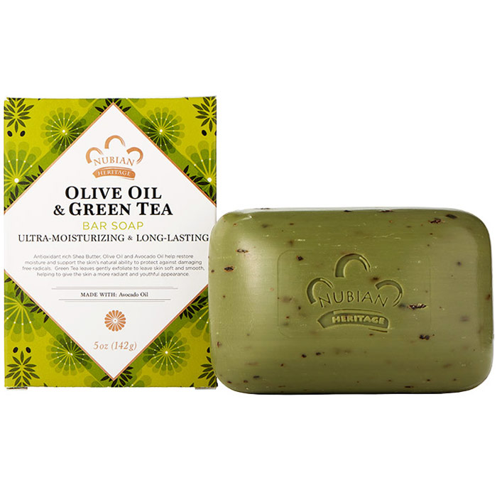 Olive Butter Bar Soap, with Avocado & Green Tea Leaves, 5 oz, Nubian Heritage