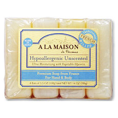 Hypoallergenic Unscented Bar Soap Value Pack, 4 x 3.5 oz, A La Maison