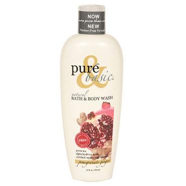 Natural Bath & Body Wash, Pomegranate Ginger, 12 oz, Pure & Basic