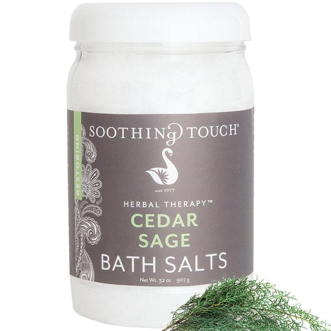Bath Salts - Cedar Sage, 32 oz, Soothing Touch