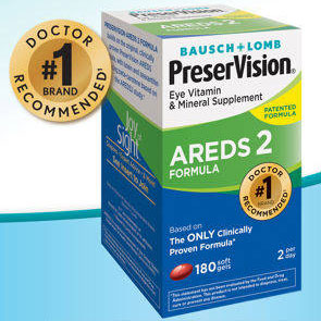Bausch + Lomb PreserVision AREDS 2 Formula, With Lutein & Zeaxanthin, 180 Softgels