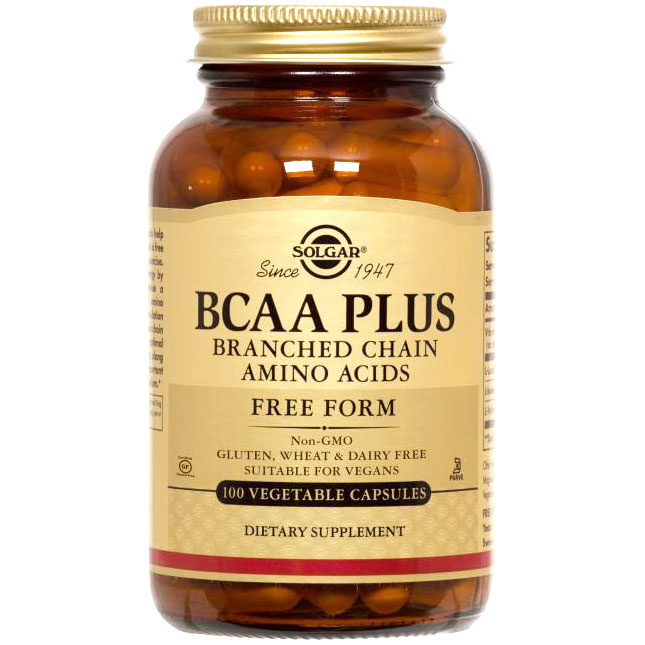 BCAA Plus (Branched Chain Amino Acids), 100 Vegetable Capsules, Solgar