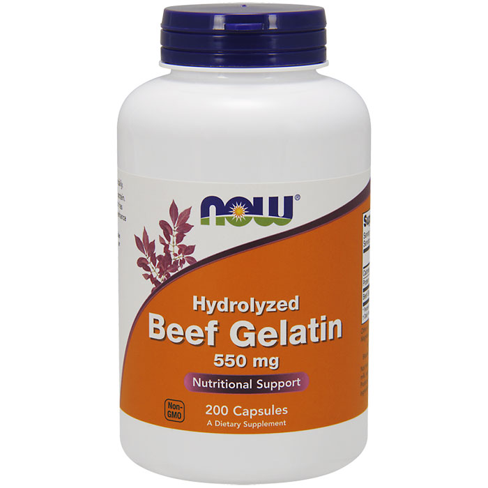 Hydrolyzed Beef Gelatin Caps 550 mg, 200 Capsules, NOW Foods