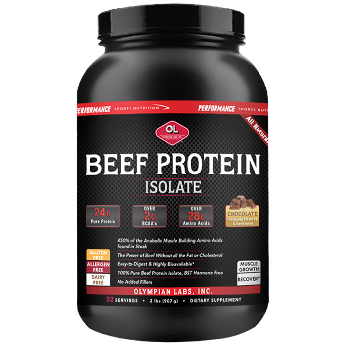 Beef Protein Isolate - Chocolate, All Natural, 2 lb (32 Servings), Olympian Labs