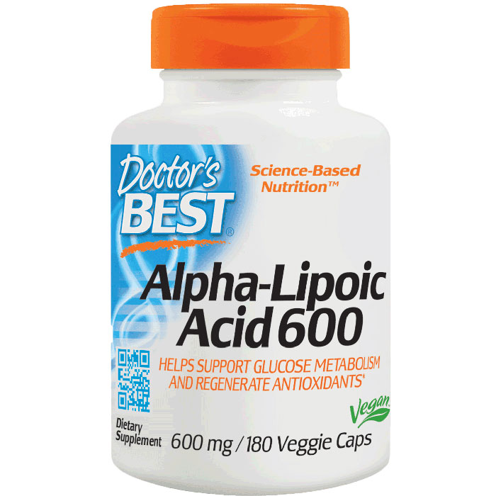 Alpha-Lipoic Acid 600 mg ALA, 180 Veggie Caps, Doctors Best