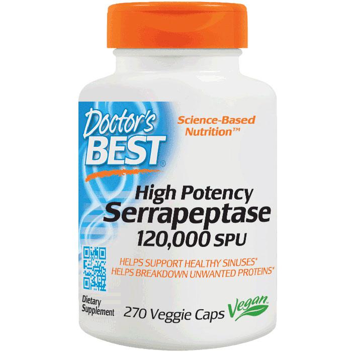 High Potency Serrapeptase, 120,000 SPU, 270 Vegetarian Capsules, Doctors Best