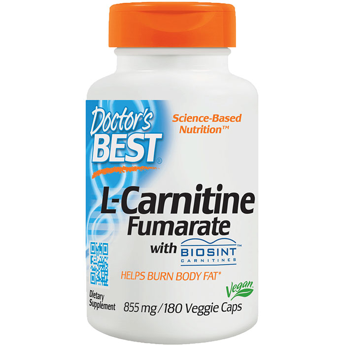 L-Carnitine Fumarate 855 mg, featuring Sigma Tau Carnitine, 180 Vegetarian Capsules, Doctors Best