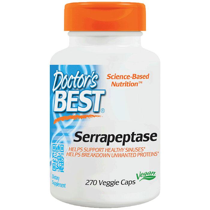 Serrapeptase 40,000 Units, Value Size, 270 Veggie Caps, Doctors Best