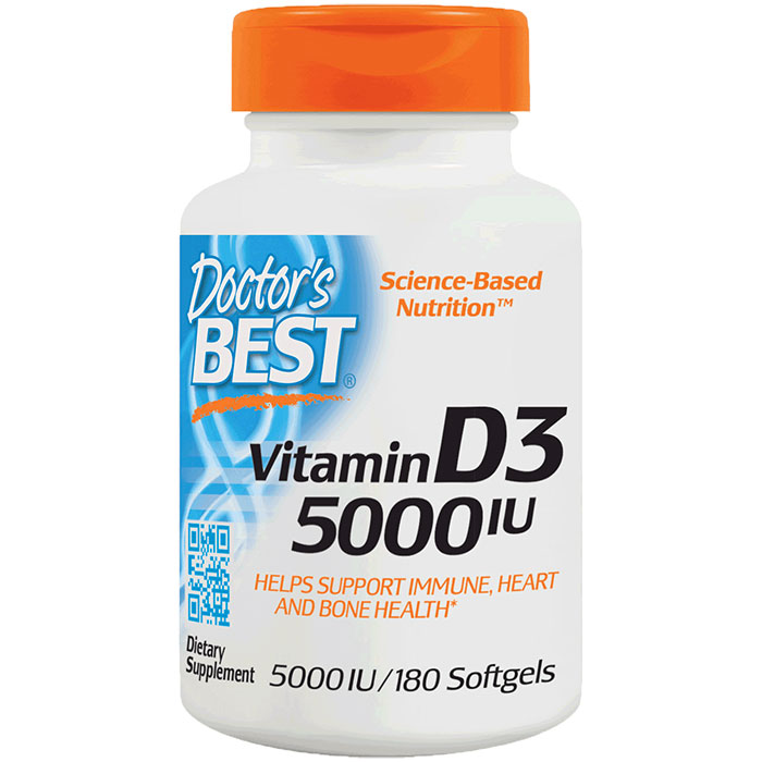 Vitamin D-3 5000 IU, 180 Softgels, Doctors Best