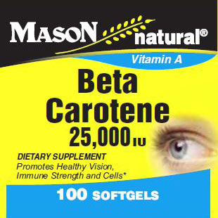 Beta Carotene 25000 IU, 100 Softgels, Mason Natural