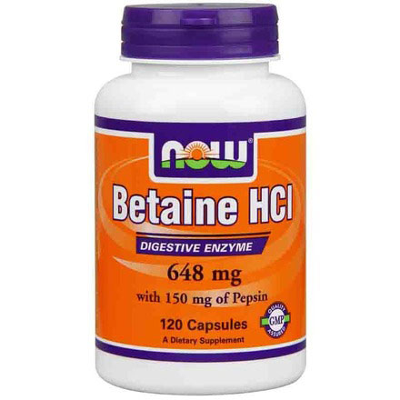 Betaine HCI ( Betaine Hydrochloride ) 648mg 120 Caps, NOW Foods
