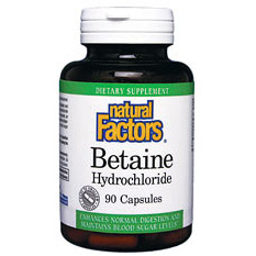 Buy Betaine HCL 500mg 90 Capsules, Natural Factors