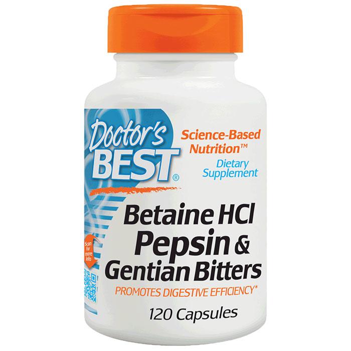 Betaine HCI Pepsin & Gentian Bitters, 120 Capsules, Doctors Best