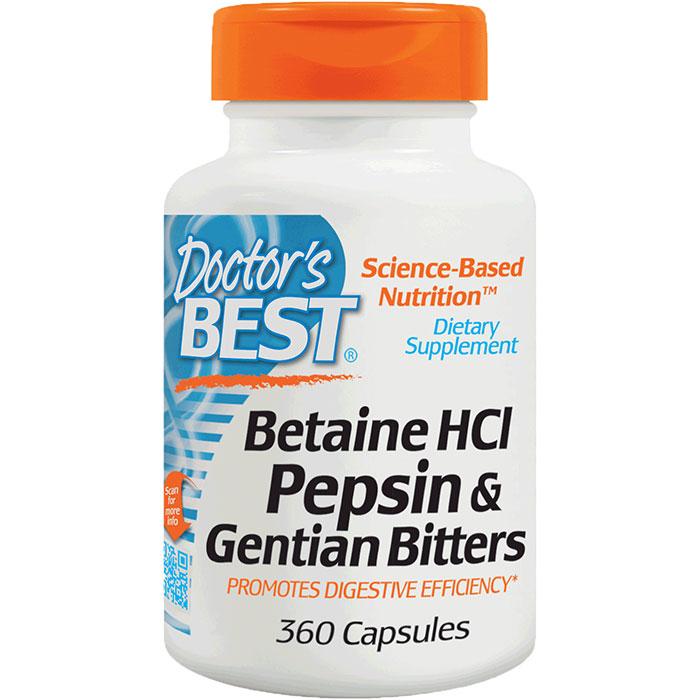 Betaine HCl Pepsin & Gentian Bitters, 360 Capsules, Doctors Best