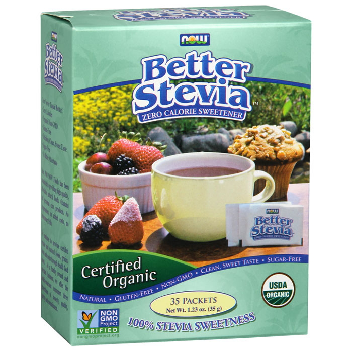 Organic Better Stevia, Zero Calorie Sweetener, 35 Packets, NOW Foods