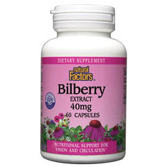 Bilberry Extract 40mg 60 Capsules, Natural Factors
