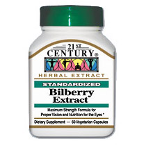 Image of Bilberry Extract 60 Vegetarian Capsules, 21st Century Health Care