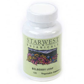 Bilberry Leaf 100 Caps 400 mg, StarWest Botanicals