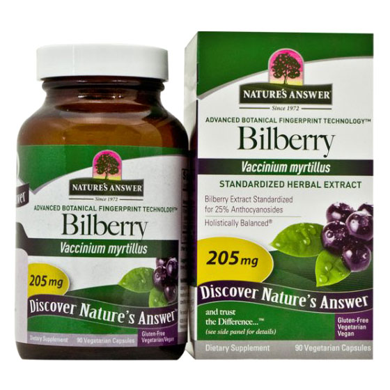 Bilberry Extract Standardized 90 Vegicaps from Nature's Answer