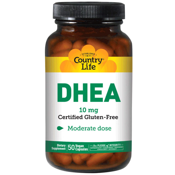 DHEA 10 mg, 50 Vegan Capsules, Country Life