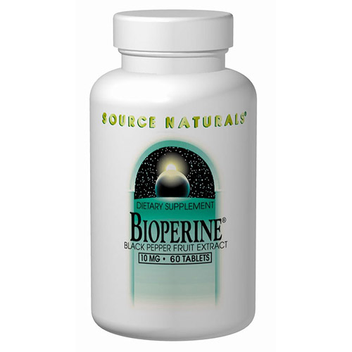 Bioperine, Black Pepper Extract 10mg 120 tabs from Source Naturals