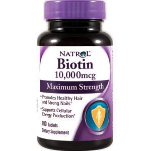 Biotin 10,000 mcg Maximum Strength, 100 Tablets, Natrol