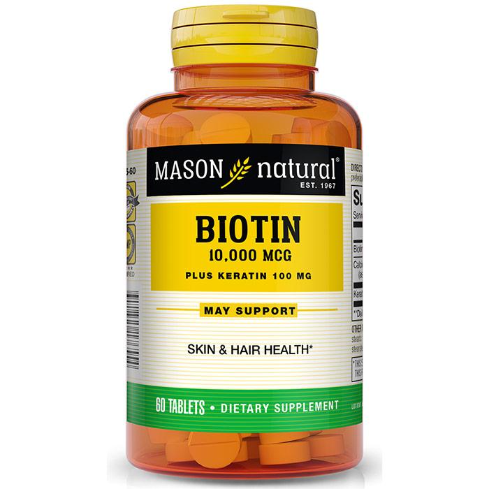 Biotin 10,000 mcg Plus Keratin 100 mg, 60 Tablets, Mason Natural