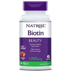 Biotin 1000 mcg Fast Dissolve, Strawberry Flavor, 90 Tablets, Natrol