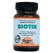 Biotin 5 mg Super Potency 60 Vegicaps, Country Life