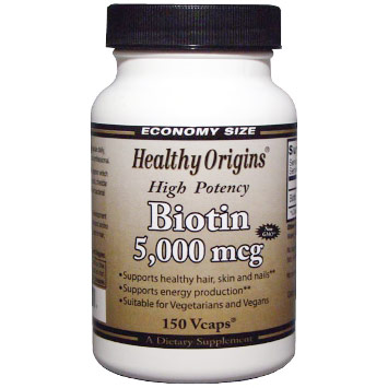 Biotin 5,000 mcg, High Potency, 150 Vcaps, Healthy Origins