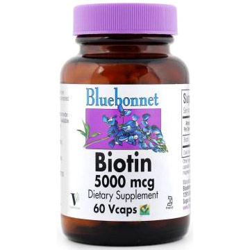 Biotin 5000 mcg, 60 Vcaps, Bluebonnet Nutrition