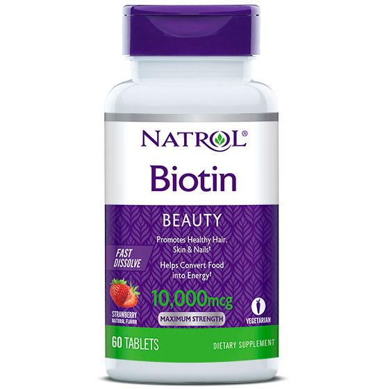 Biotin Fast Dissolve 10000 mcg, 60 Tablets, Natrol