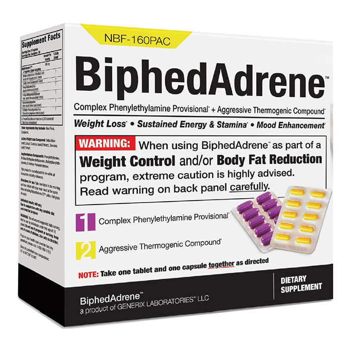 BiphedAdrene, Super-Powerful Diet Pill, 120 Capsules, Weight Control & Fat Loss
