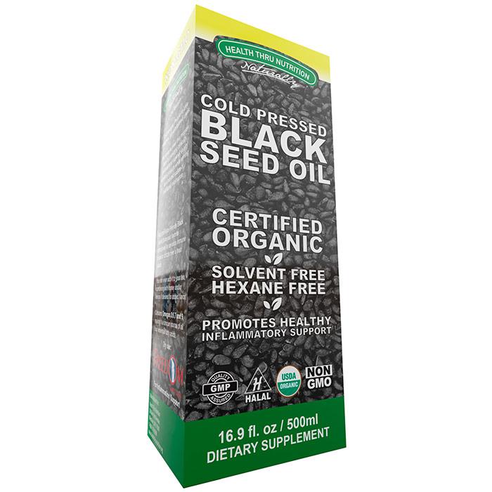 Black Cumin Seed Oil, Organic, Cold Pressed, 16.9 oz (500 ml), Health Thru Nutrition