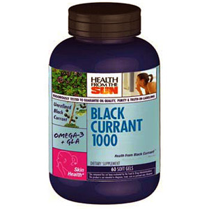 Black Currant Oil 1000 mg, 60 Softgels, Health From The Sun