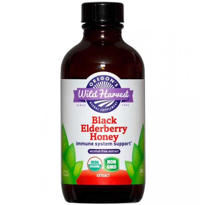 Black Elderberry Honey Liquid Extract, Organic, Alcohol Free, 4 oz, Oregons Wild Harvest