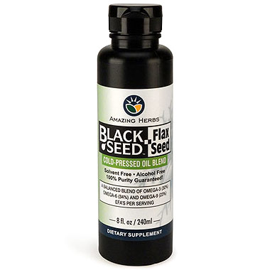 Black Seed & Flax Seed Cold-Pressed Oil Blend, 8 oz, Amazing Herbs