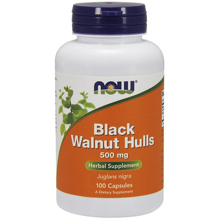 Black Walnut Hulls 500 mg, 100 Capsules, NOW Foods