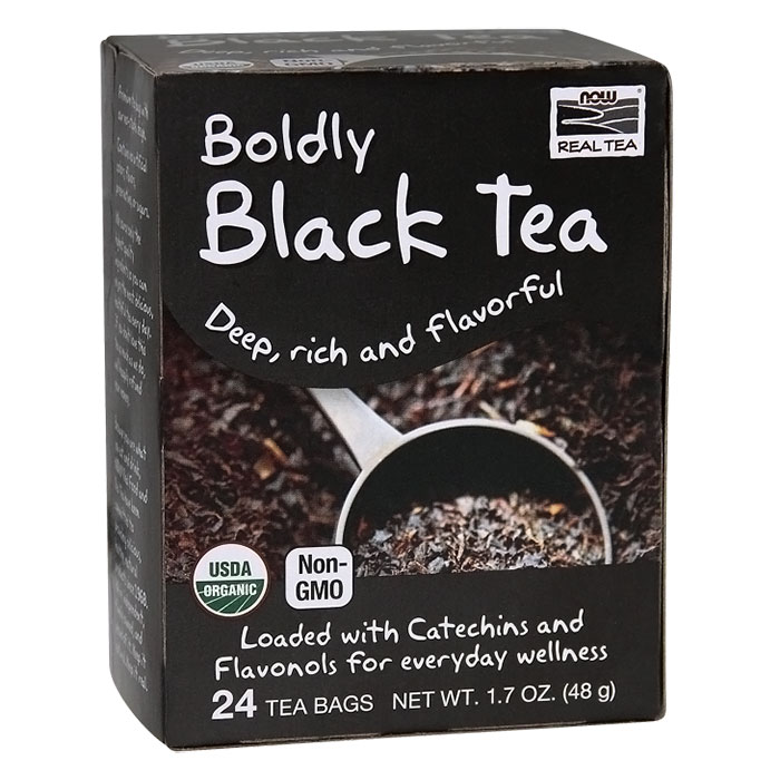 Boldly Black Tea, Organic, 24 Tea Bags, NOW Foods