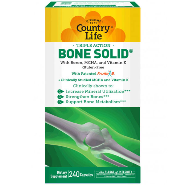 Bone Solid, Triple Action Bone Support, 240 Capsules, Country Life
