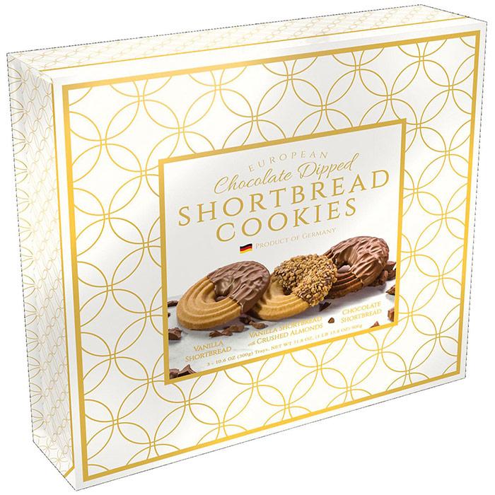 Borggreve European Chocolate Dipped Shortbread Cookies Gift Box, 31.8 oz (900 g)
