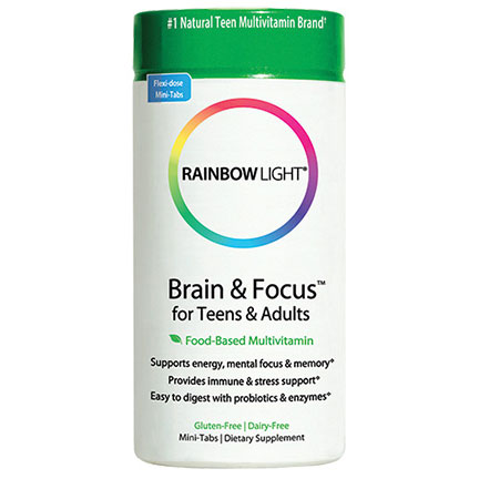 Brain & Focus for Teens & Adults, Food Based Multivitamin, 90 Mini Tablets, Rainbow Light