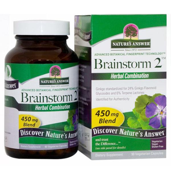 Brainstorm 2, Brain Health Herbal Formula, 90 Vegetarian Capsules, Natures Answer